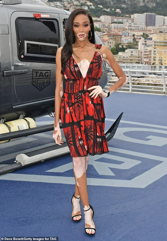 Winnie Harlow shows off her statuesque figure during intimate dinner hosted by Tag Heuer in Monaco
