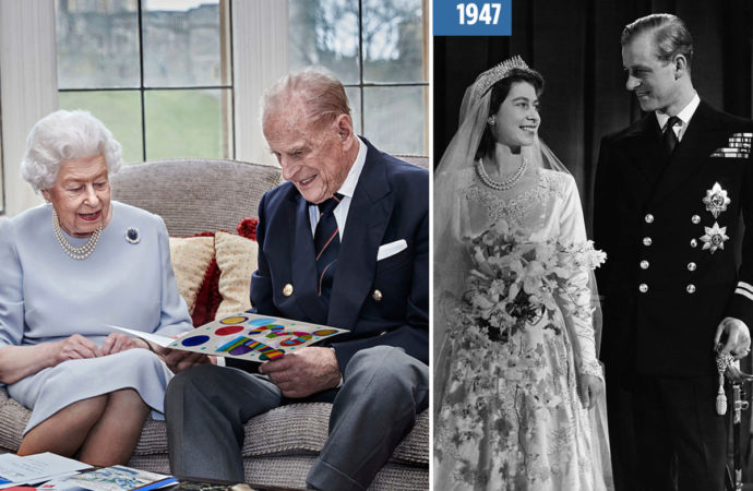 The Queen and Prince Philip open messages from their great-grandchildren as they celebrate 73rd wedding anniversary
