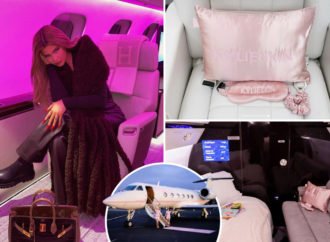 Inside Kylie Jenner's $72.8 MILLION pink private jet featuring an entertainment room, master suite and HUGE closet space
