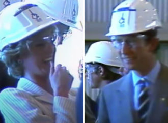 Unseen footage shows Princess Diana in hysterics at sight of Prince Charles wearing a hard hat