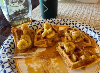 Midweek breakfast cheat meal of waffles, bananas and peanut butter. This one ti…