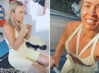 RHOBH's Teddi Mellencamp flaunts toned body in sports bra as she works out with cast after foot injury