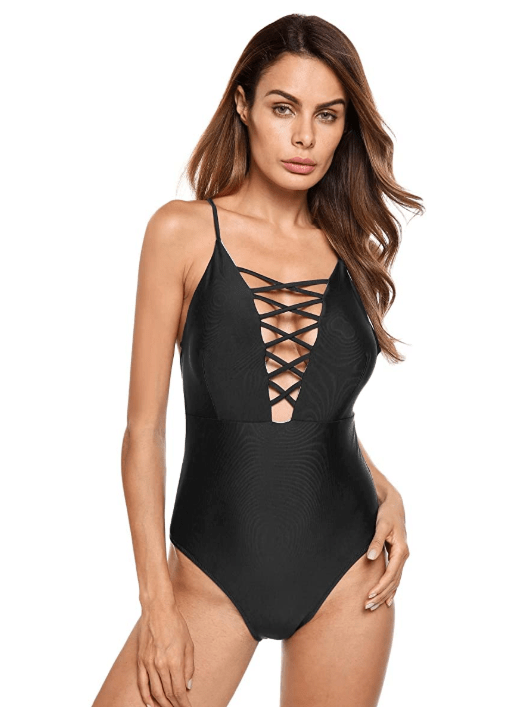 Ekouaer Women's Sexy Ruffle Criss Cross Back One Piece (Black)