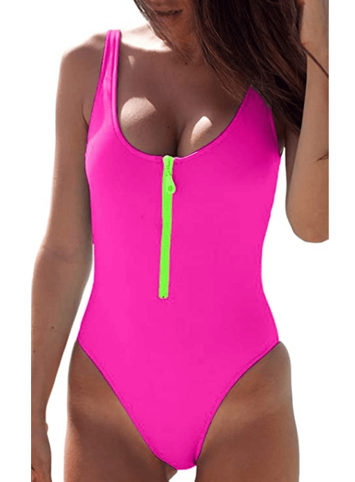 CHYRII Women's Sexy Zipper Front Low Back High Cut One Piece Swimsuit