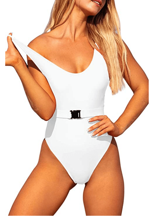 Tansuitme Women's One Piece Swimsuit (White Bikini)