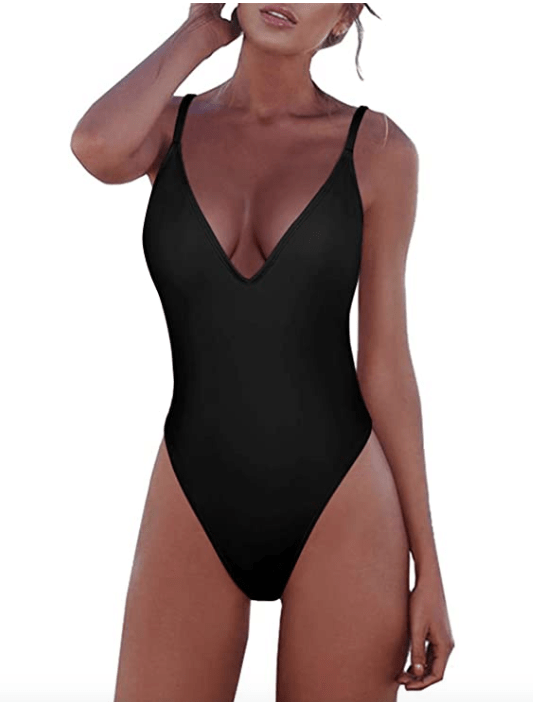 Adreamly Women's One Piece Tummy Control V Neck Backness Swimsuit (Black)