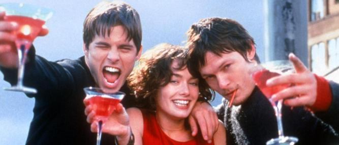 Young gun … Reedus (right) in one of his earliest roles in Gossip, opposite James Marsden, and Lena Headey